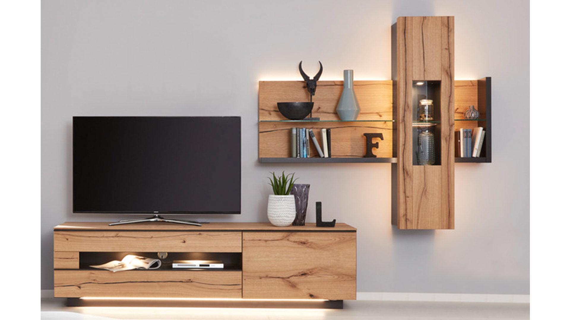 Interliving Wohnzimmer Serie 2103 – Wohnwand 560001S mit Beleuchtung,  schieferschwarzer Lack & Asteiche – dreiteilig, Breite