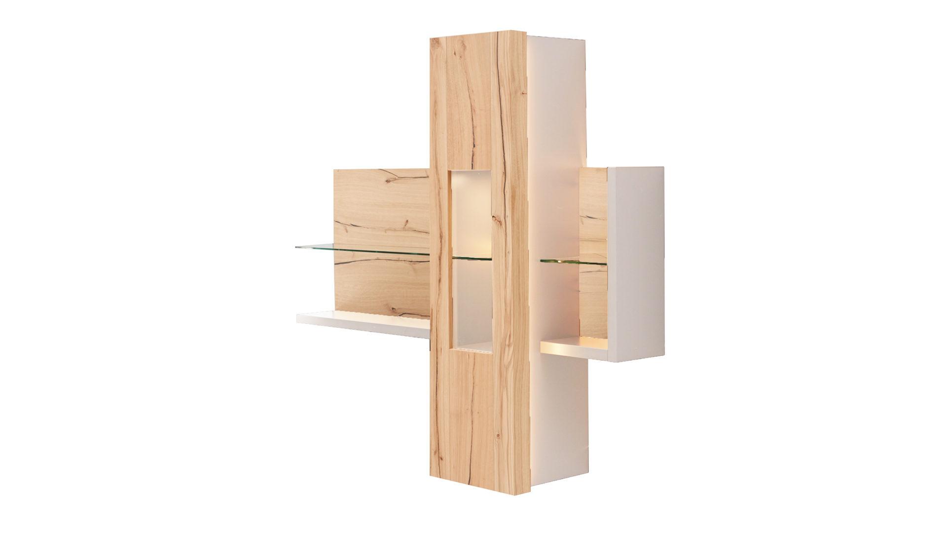 Interliving Wohnzimmer Serie 2103 – Regal mit Vitrine, mattweißer Lack &  Asteiche – ca. 165 x 62 cm