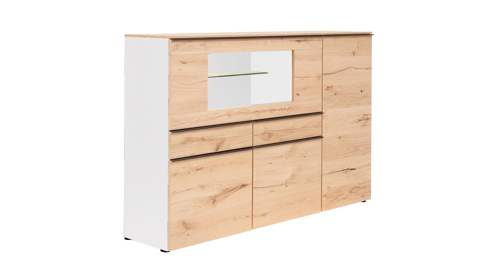 Interliving Wohnzimmer Serie 2103 Highboard Mattweißer Lack Asteiche Zwei Türen Zwei Schubladen Eine Klappe