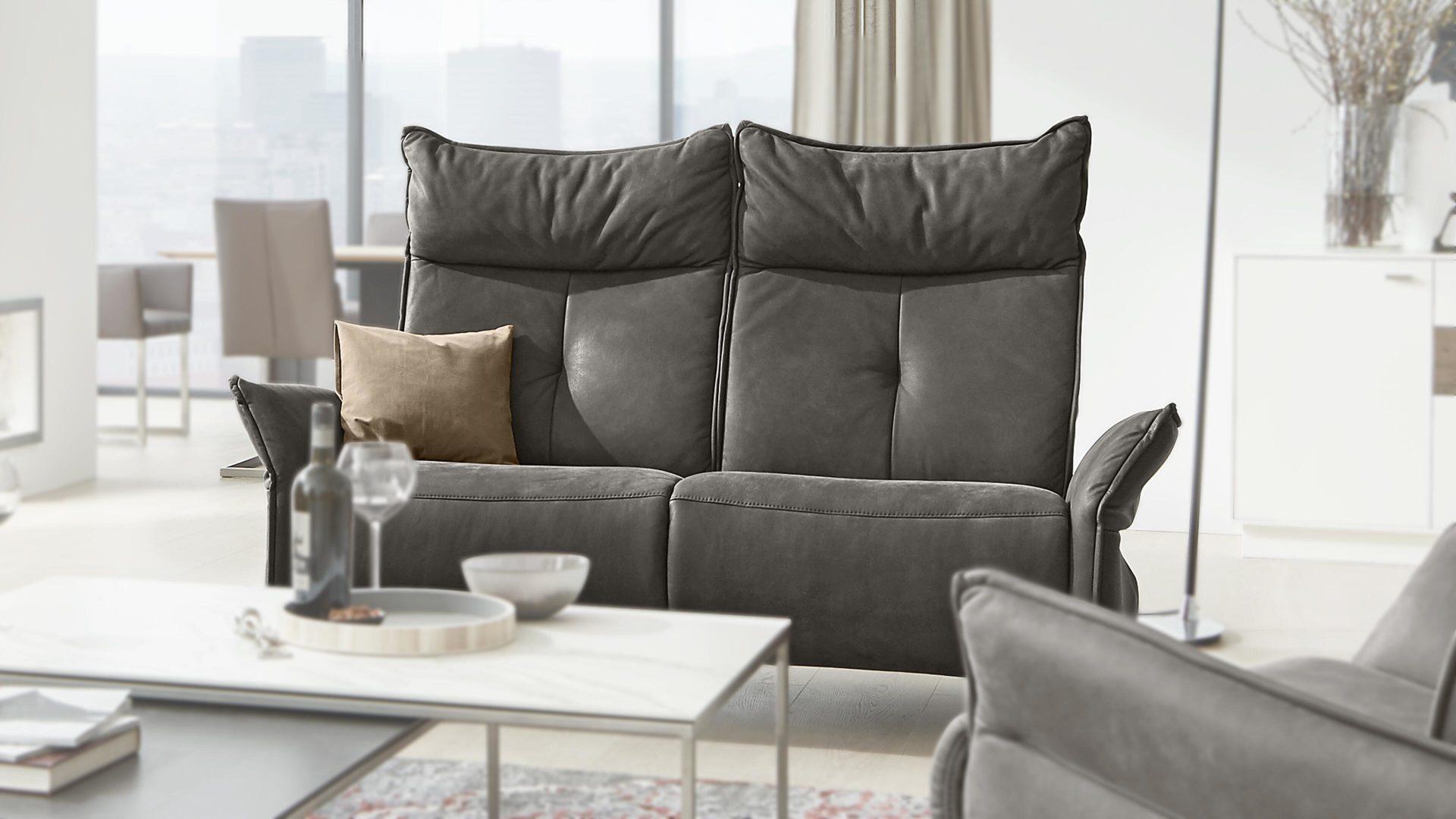 Interliving Sofa Serie 4200 2 Sitzer Zinnfarbenes Leder Rustika Lange