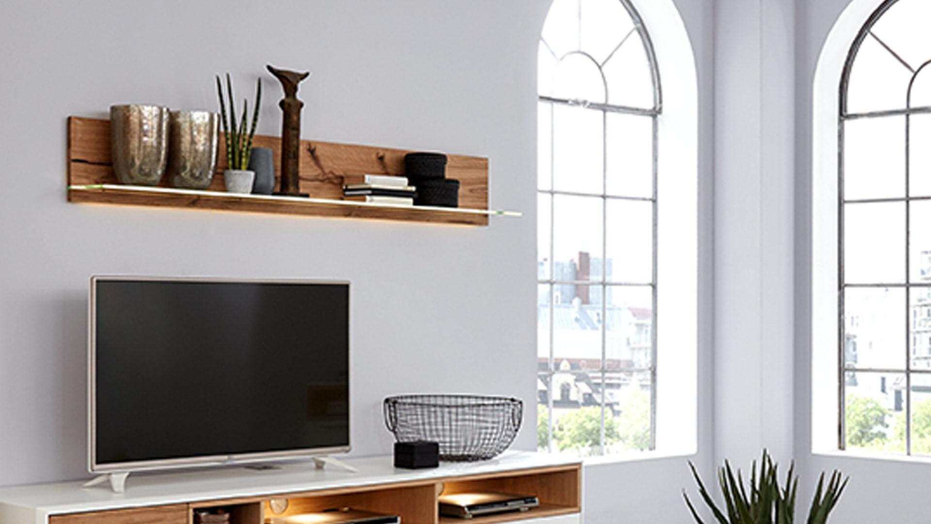 Interliving Wohnzimmer Serie 2102 Wandregal 617 Mit Beleuchtung Helles Asteiche Furnier Länge Ca 176 Cm