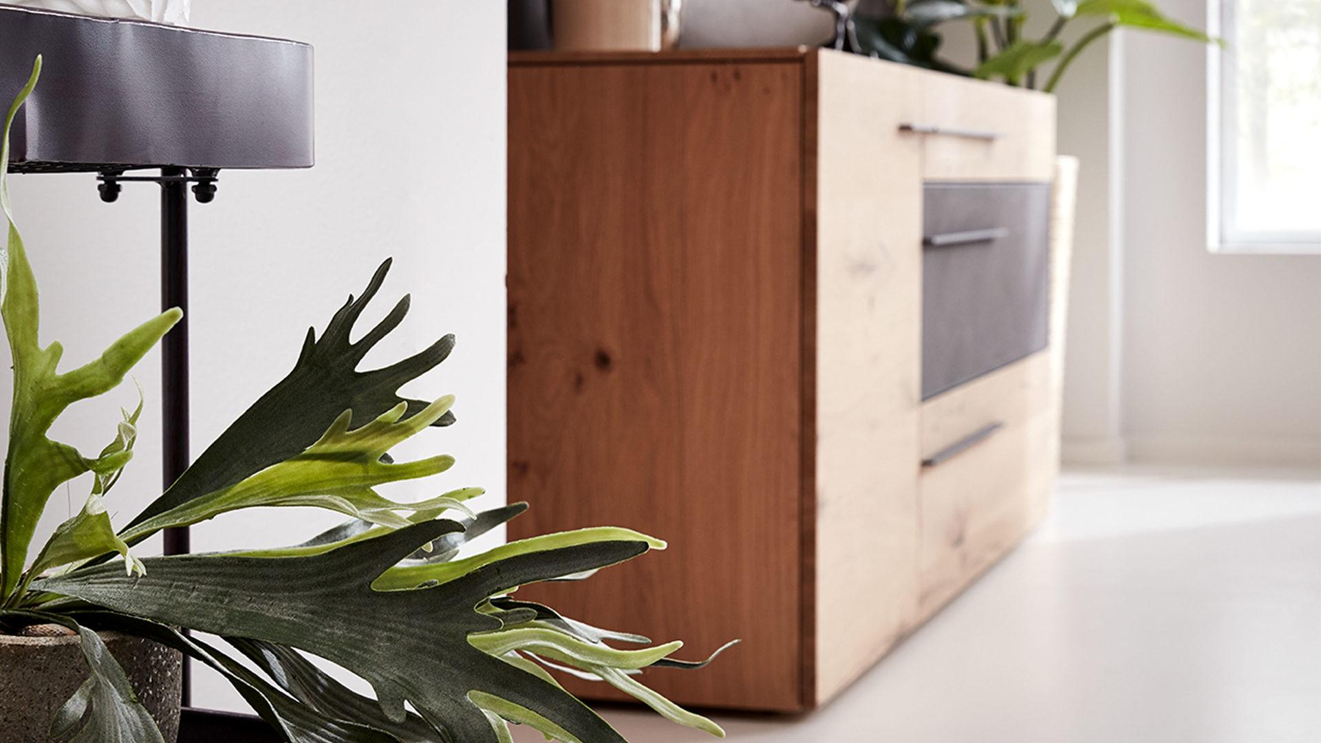 Interliving Wohnzimmer Serie 2004 – Sideboard, Wildeiche & Beton – eine  Tür, drei Schubladen