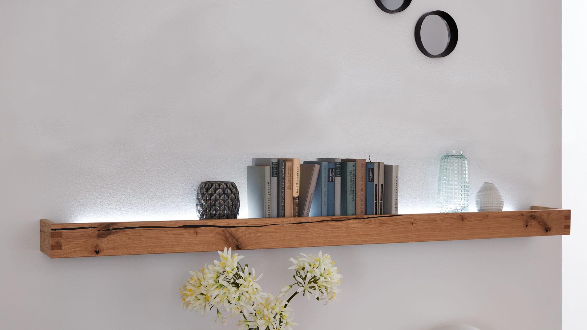 Interliving Wohnzimmer Serie 8 – Wandregal, Asteiche – Länge ca. 8 cm