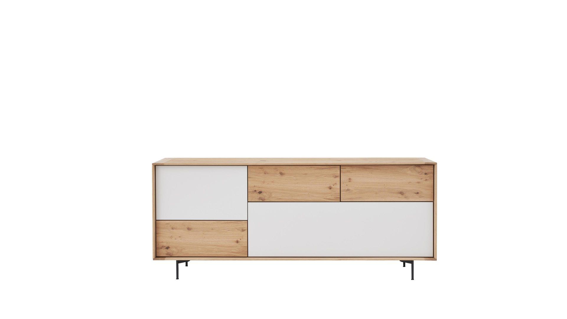 Interliving Esszimmer Serie 5602 Sideboard Helle Wildeiche Lichtgraue Lackoberflächen Zwei Klappen Drei Schubladen