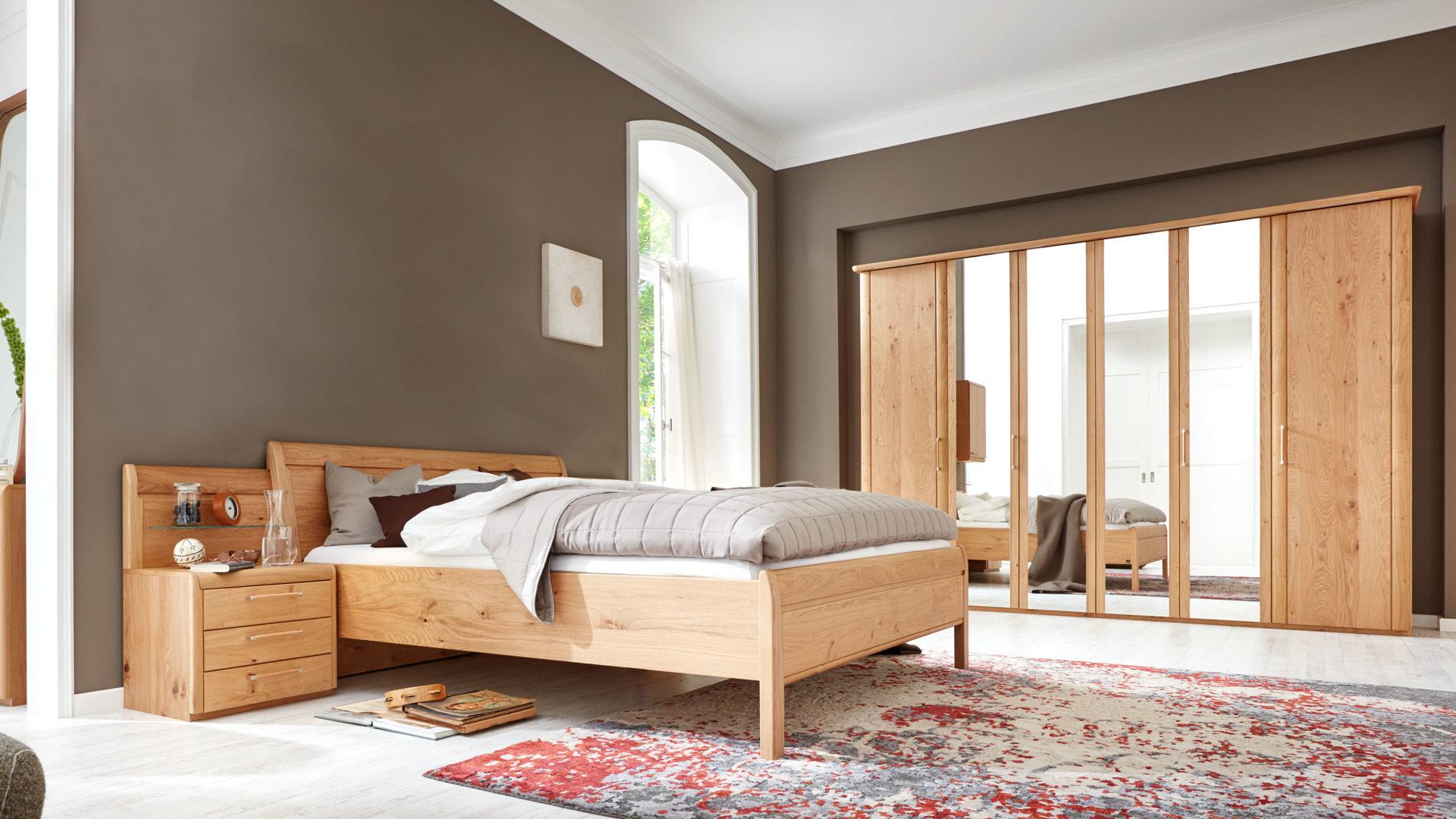 Interliving Schlafzimmer Serie 1001 – Schlafzimmerkombination,  Wildeiche-Echtholzfurnier – vierteilig