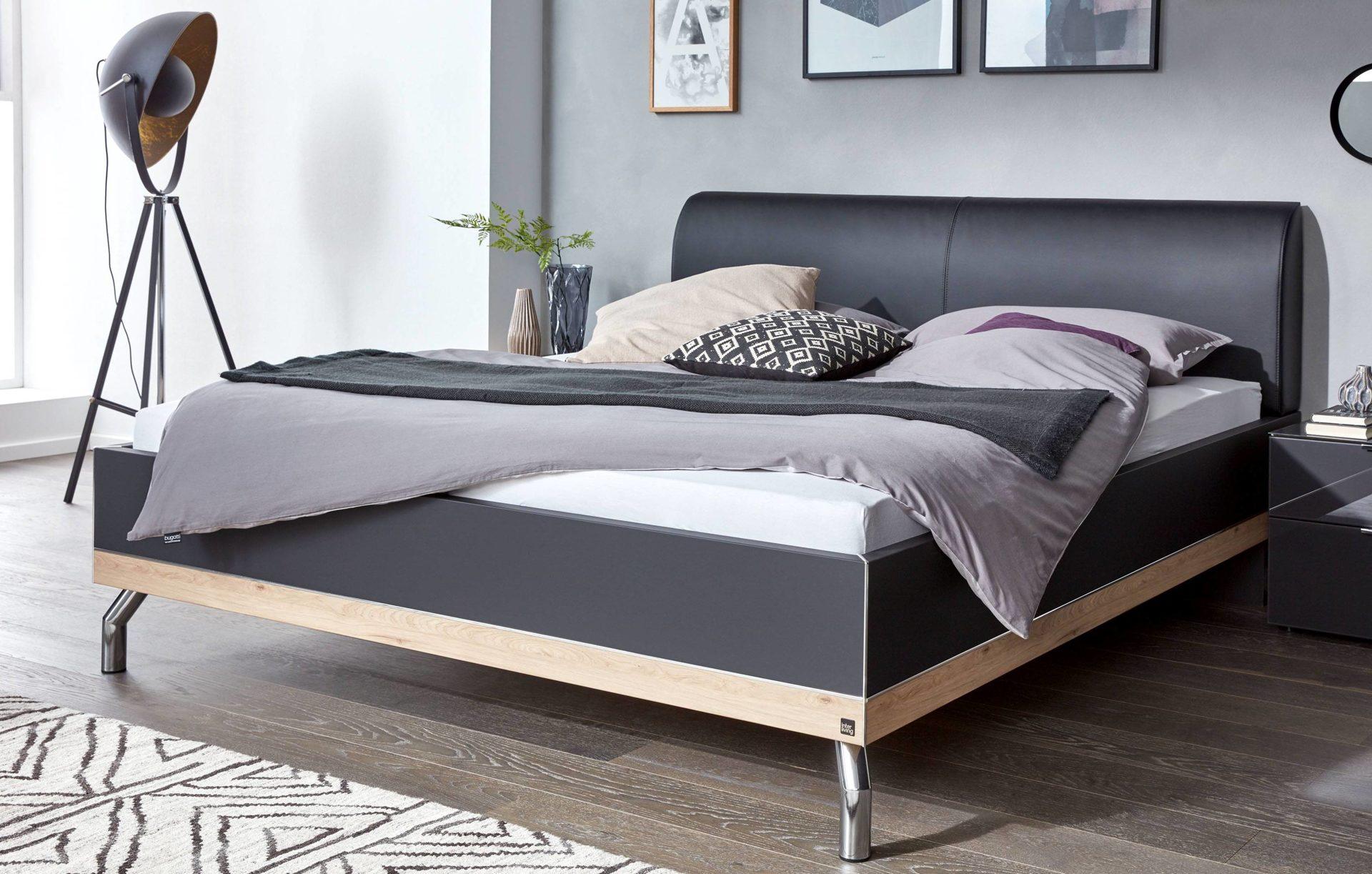 Interliving Schlafzimmer Serie 1010 – Doppelbettgestell, basaltfarbene &  Jackson eichefarbene Kunststoffoberflächen, basaltfa