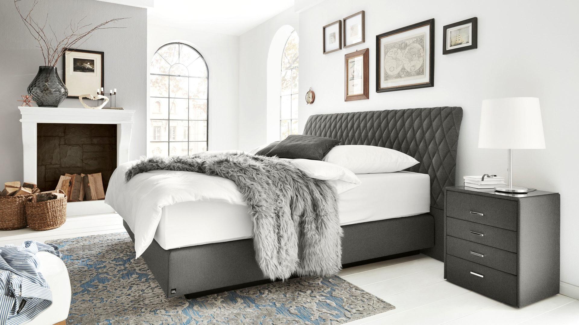Interliving Boxspringbett Serie 1403, grauer Stoffbezug Neo 484500 –  Liegefläche ca. 180 x 200 cm