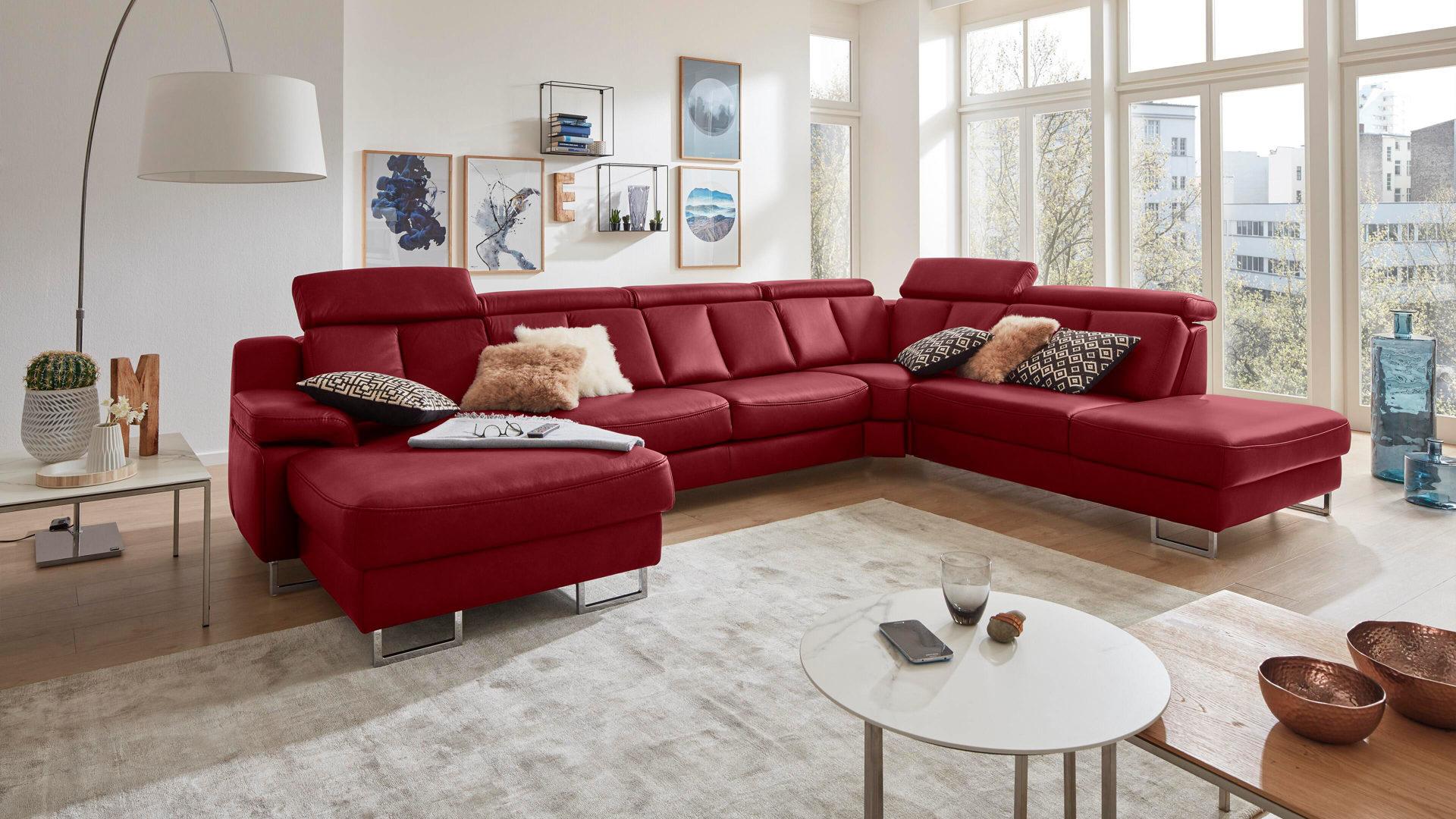 Interliving Sofa Serie 4050 Wohnlandschaft Rotes Longlife Leder Cloudy Red Chromfusse Stellflache Ca 368 X 261 Cm