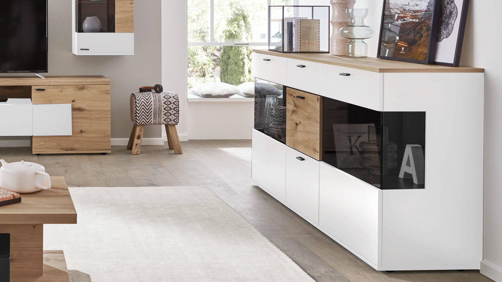 Interliving Wohnzimmer Serie 2104 Sideboard Weisse Lackoberflachen