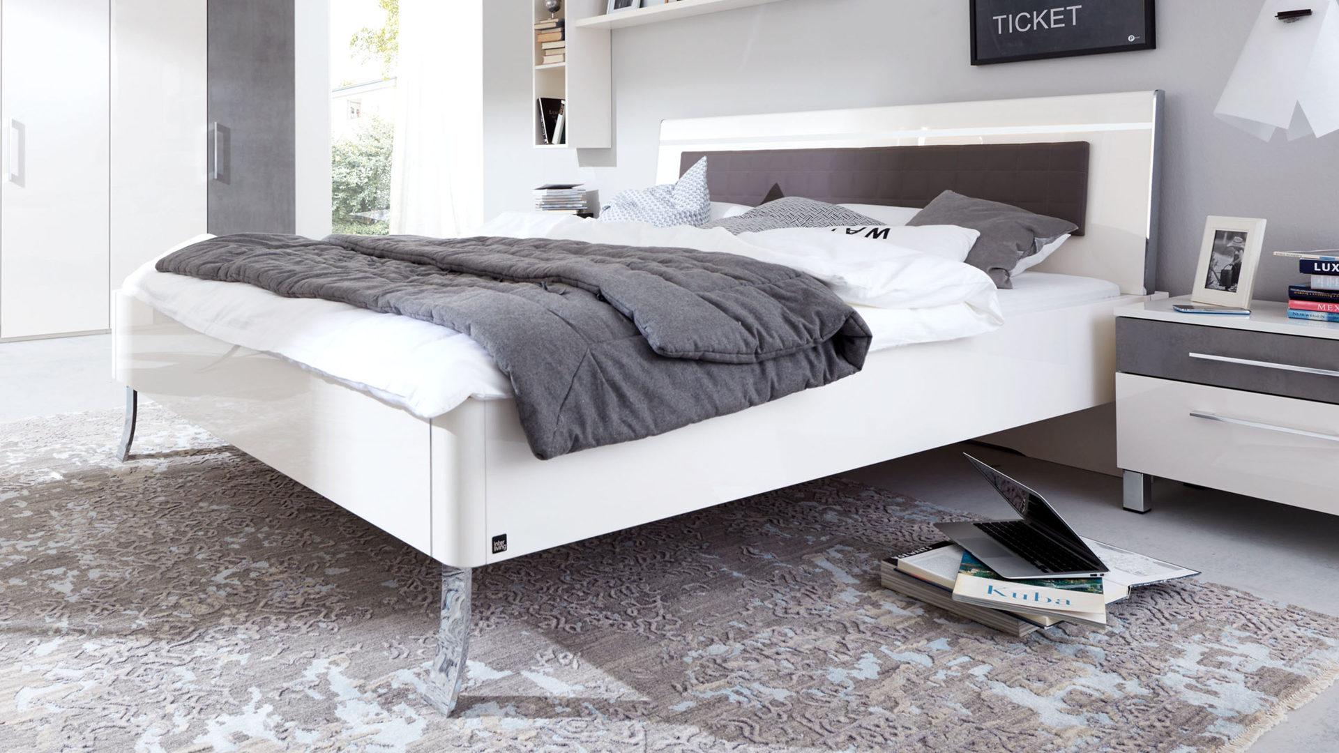 Interliving Schlafzimmer Serie 1003 – Bettgestell, Bianco weiße  Hochglanzoberflächen - Liegefläche ca. 180 x 200 cm