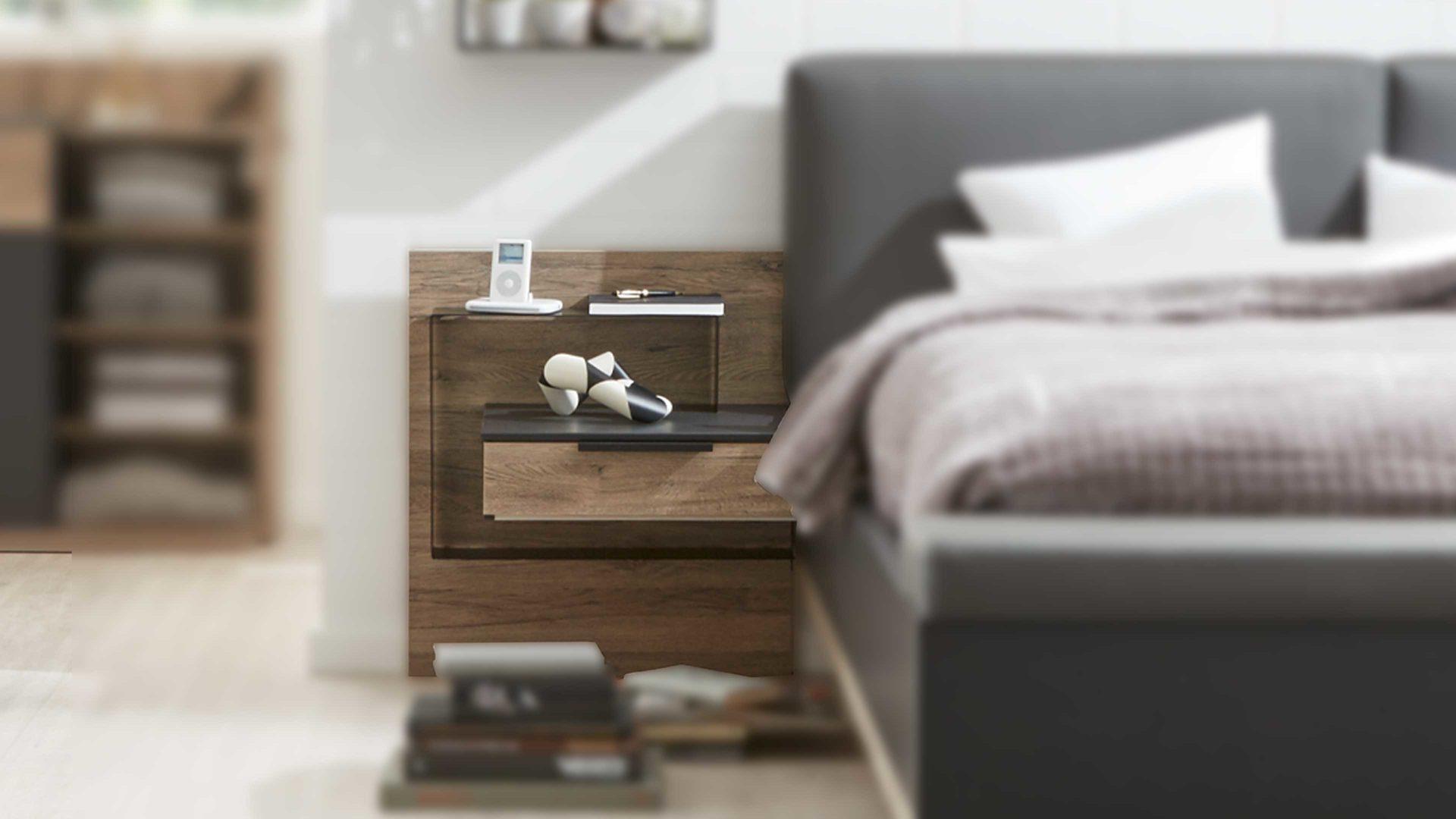 Interliving Schlafzimmer Serie 1007 Hangekonsolen Set Dunkle Sanremo Eiche