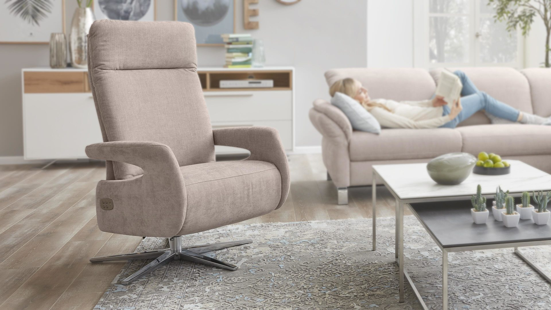 Relaxsessel 3c candy | il aus Stoff in Pastellfarben Interliving Sessel Serie 4510 – Relaxsessel rosa Bezug Vintage & Sternfuß