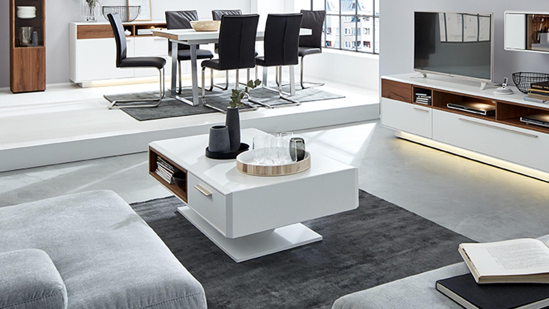 Interliving Wohnzimmer Serie 17 - Couchtisch, dunkles Asteiche-Furnier &  weißer Mattlack – ein offenes Fach, eine Schublade