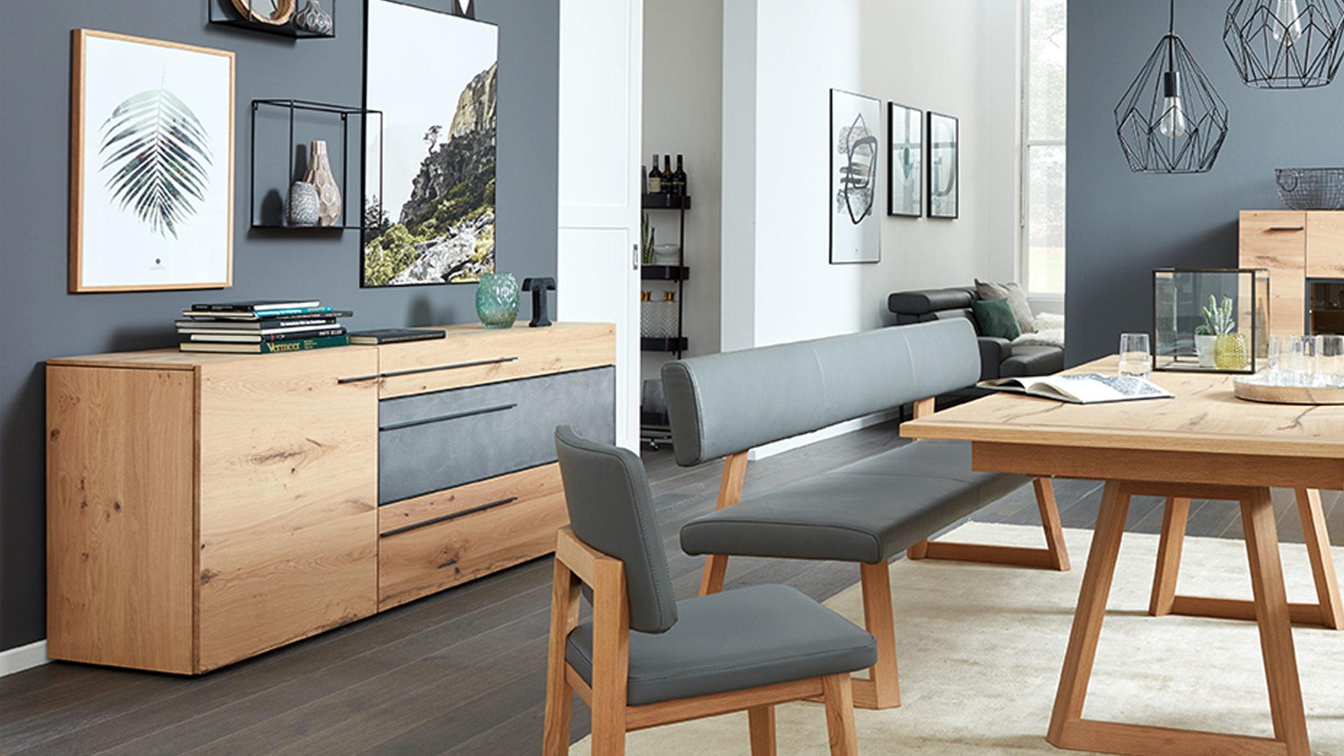 Interliving Wohnzimmer Serie 2004 Sideboard Wildeiche Beton Eine