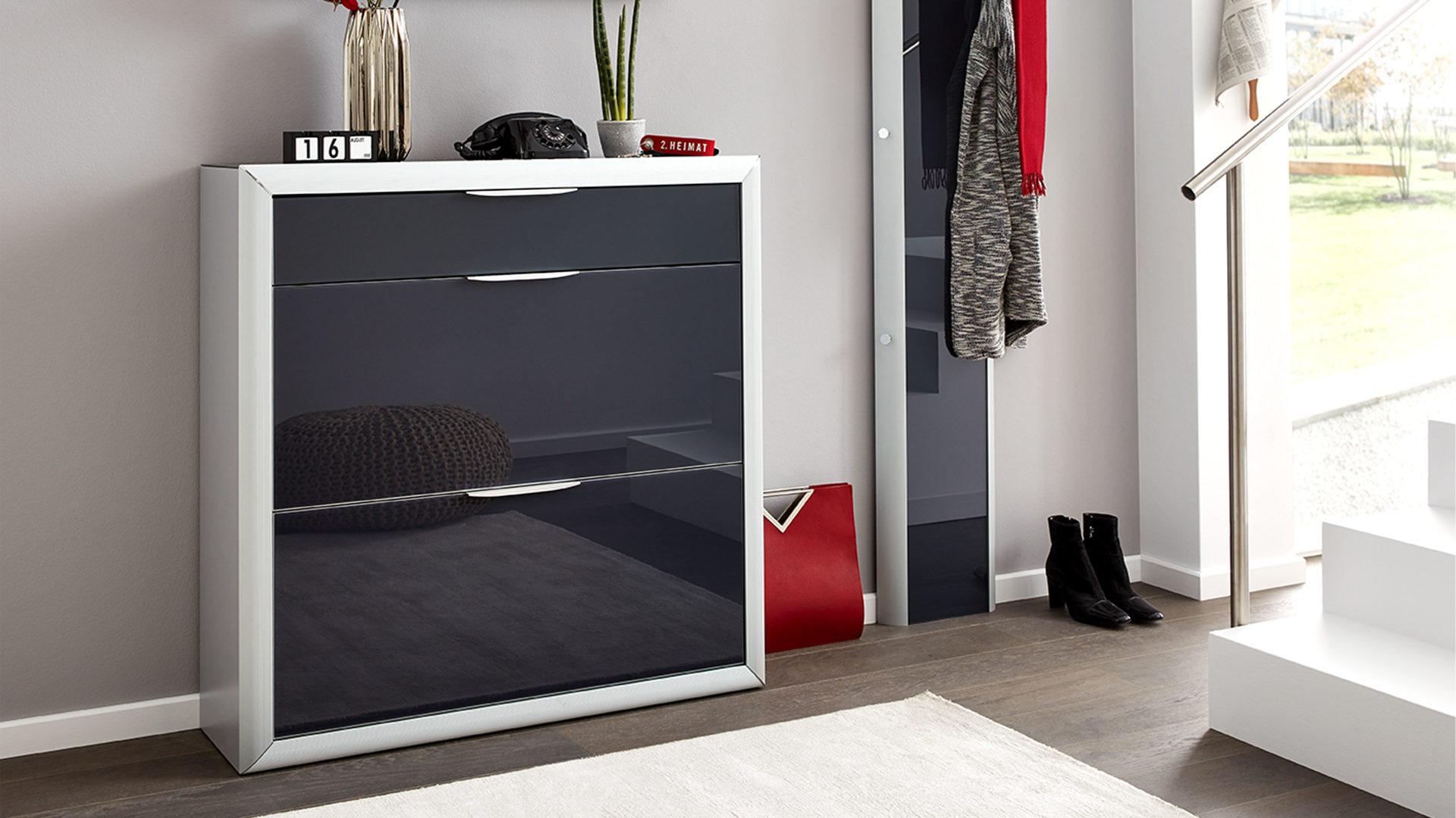 Interliving Garderoben Serie 6003 Schuhschrank Anthrazitfarbene