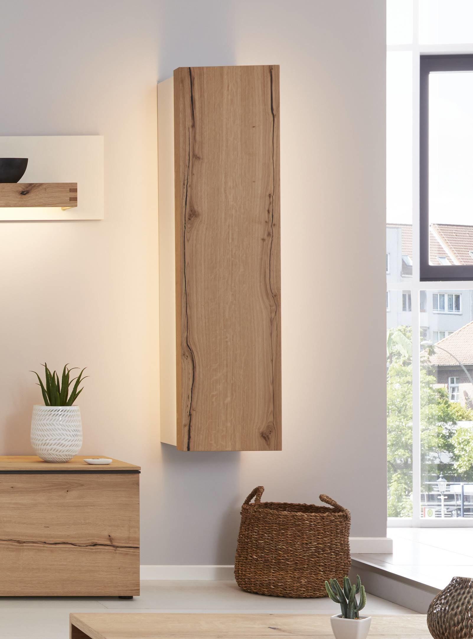 Interliving Wohnzimmer Serie 16 – Hängeelement mit Beleuchtung,  mattweißer Lack & Asteiche – eine Tür, rechts, Höhe ca