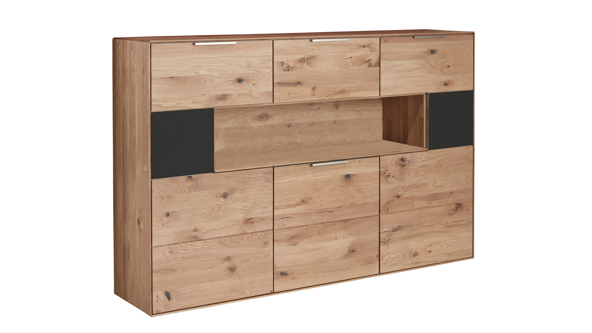 Highboard Interliving aus Holz in Grau Interliving Wohnzimmer Serie 2005 – Highboard Asteiche & anthrazitfarbenes Glas – drei Türen, eine Klappe
