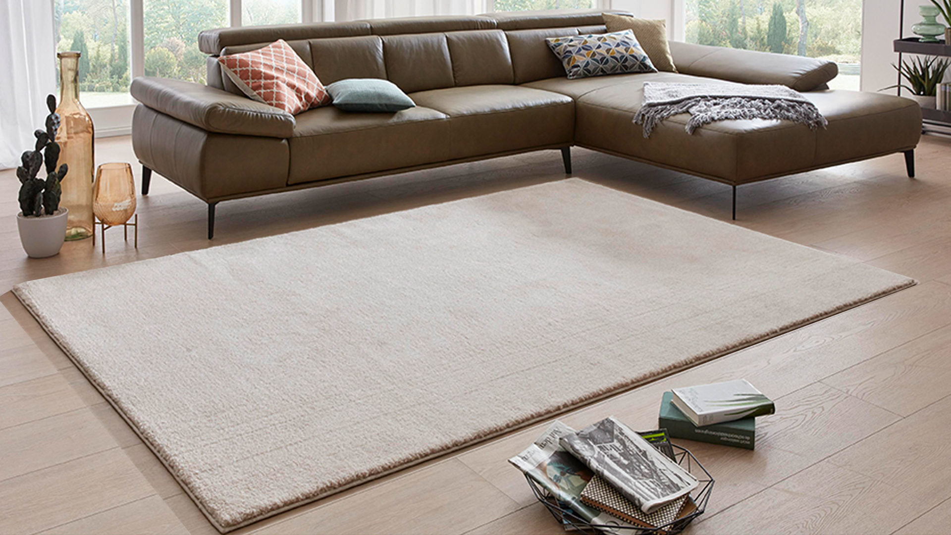 Webteppich Interliving aus Kunstfaser in Beige Interliving Teppich Serie L-8500 beige-mix – ca. 160 x 230 cm