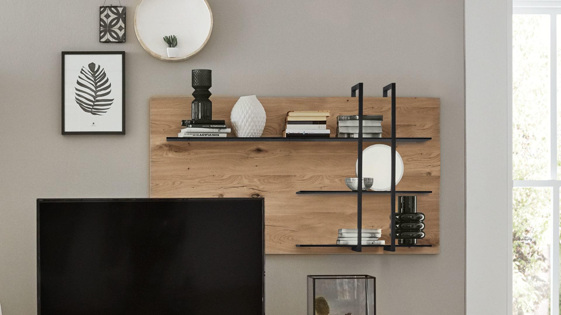 Interliving Wohnzimmer Serie 5 – Wandregal, rechts, Balkeneiche – ca.  5 x 5 cm