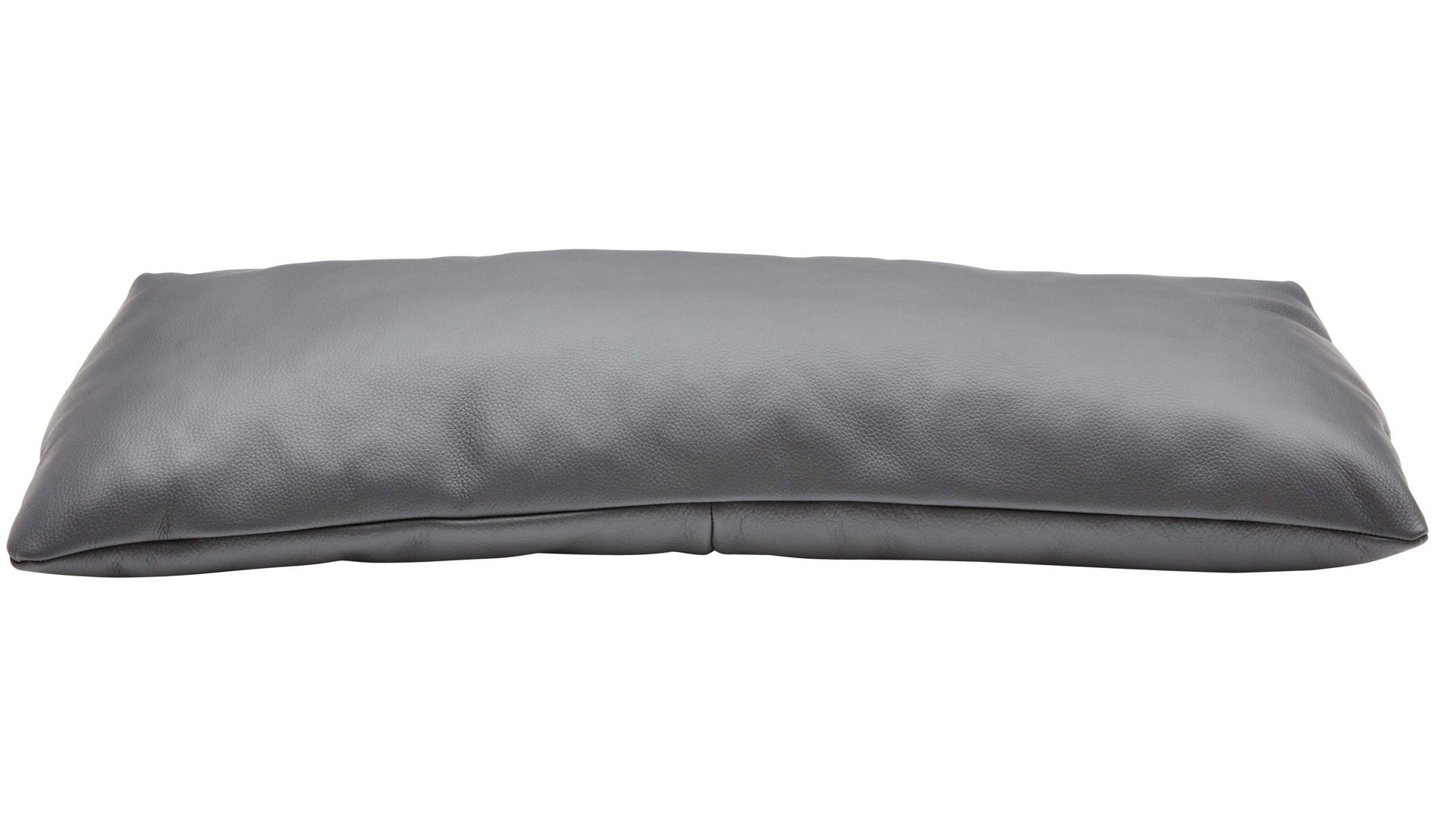 Kissen Interliving aus Stoff in Grau Interliving Sofa Serie 4102 – Nierenkissen fangofarbenes Leder Mercury – ca. 67 x 26 cm