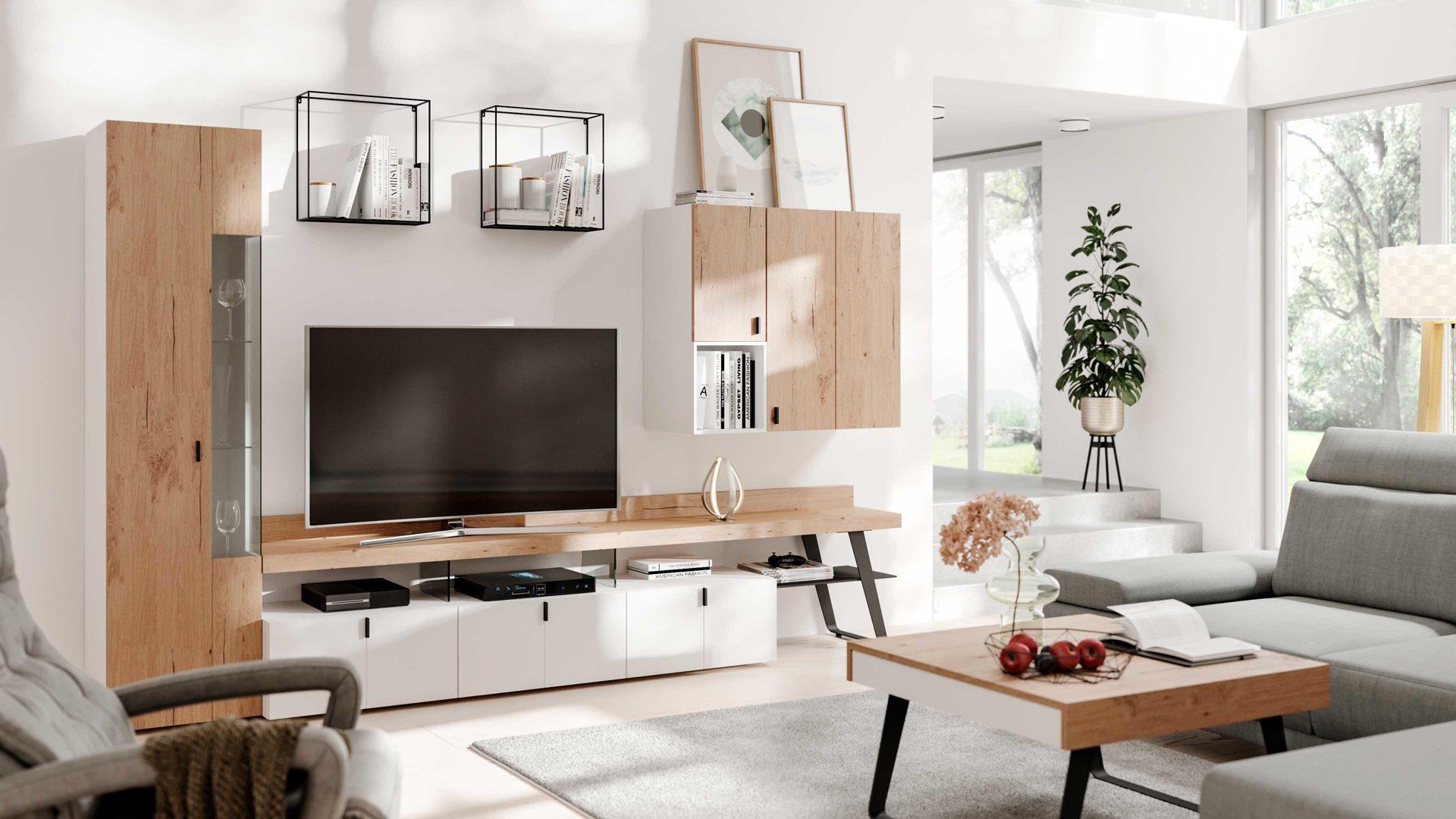 Interliving Wohnzimmer Serie 8 – Wohnwand IN8, weißer Lack, Balkeneiche  & anthrazitfarbenes Metall – vierteilig, Breite